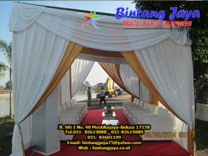 tenda serut warna gold & putih